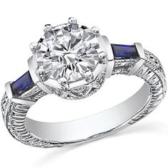 Round Moissanite and blue sapphire antique engagement ring.