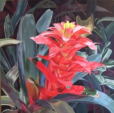 Bold Botanical Acrylic Painting: Painting of Tropical Plant by Carol Sims