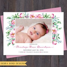 Floral birth announcement photo baby girl pink by DebraBondDesigns Birth Announcement Template, Birth Announcement Photos, Birth Announcements, First Birthday Parties, First Birthdays, Naming Ceremony Invitation, Christening Invitations Girl, Baptism Party, Baptism Ideas