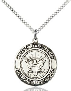 US Navy Military St Christopher Sterling Silver Medal Engravable Necklace by Bliss