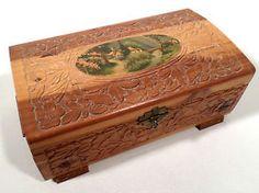 Vintage Large Hand Carved Cedar Wooden Trinket Box w/ Mirror, Village Scene