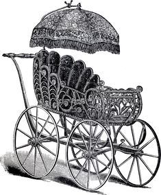 Vintage Wicker Baby Carriage Image