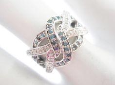 Kay Jewelers 10k White Gold .33 TCW Blue & White Diamond Band Ring Sz 5.25 #2850 #Band