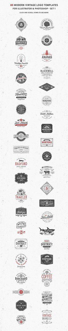 80 Modern Vintage Logos vol 2 by DISTRICT 62 STUDIO on @creativemarket