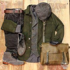 "peterfieldsberlin: ""Get inspired! Today with… #hatteras #harristweed #flatcap #stetson #chino #cord #bluedegenes #vest #waistcoat #shirt #grey #green #moleskin #jacket #universalworks #olive #bag..."
