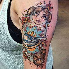 @nerdyowl23's rad nesting dolls piece by @apbailey_tattoos!