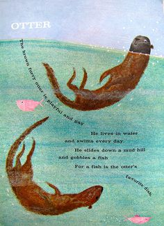 Sea otters by art.crazed on Flickr. Illustration crush: Dale Maxey, 1961.