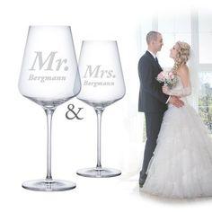 Ob personalisiert oder nicht – die Weingläser mit Gravur zur Hochzeit sind ein stilvolles, hochqualitatives Geschenk für das Paar. via: www.monsterzeug.de