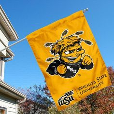 Wichita State University Shockers House Flag by College Flags and Banners Co.. $23.95. Single-Ply Polyester Material with 2-Ply Double Sided Bottom Panel. 30 (w) x 40 (h) Inches in Size with Top Pole Sleeve. School Logos are Screen Printed into Material. Officially Licensed by Wichita State University. Viewable on Both Sides (WSU LOGO is Reverse on Opposite Side, WICHITA STATE bottom logo panel is Double-Sided). Wichita State University Shockers House Flag is 30x40 inch...