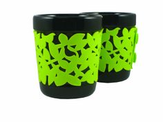 Make My Day 9-1/2-Ounce Ceramic Hot Beverage Cups with Silicone Sleeve