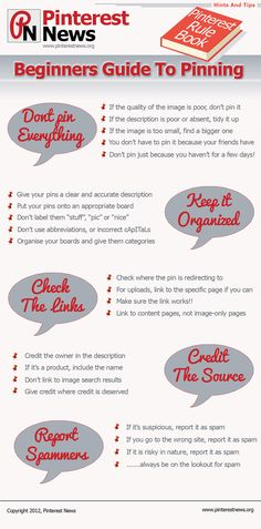 #Pinterest - Beginners guide to pinning #infographic #socialmedia  I always, always check the links ... and you ? ;)