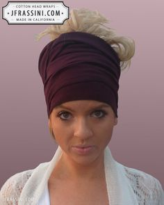 $12.97 Buy fashionable Plum Bandanas. Perfect for long or short hair, no hair, dreadlocks, African wraps, hair coverings, motorcycle helmets, and chemo/cancer treatment. (818) 749-5066 For sale at http://jfrassini.com/plum-head-wrap/