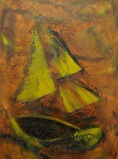 Petit bateau, Techniques mixtes sur toile, 80 x 60 cm, disponible