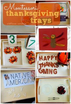 Montessori Thanksgiving Trays - Wildflower Ramblings- the berry tray and some variation of the words and letters Montessori Trays, Montessori Education, Montessori Toddler, Montessori Materials, Montessori Activities, Preschool Activities, Kindergarten Themes, Motor Activities, Thanksgiving Preschool