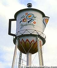 """Water Tower Coffee Pot located in   Stanton, Iowa. One of the few towns with a semi-legitimate coffee claim-to-fame, Stanton is the home of """"Mrs. Olson."""" Or, at least, was the home of an actress  -- stage name Virginia Christine -- made famous as Folgers' Mrs. Olson, hawking their """"mountain grown"""" coffee in TV commercials and on the sides of coffee cans."""