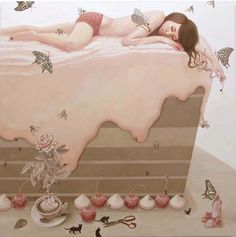 """cake""  oil on canvas 116.3cm×116.3cm  07.2007"