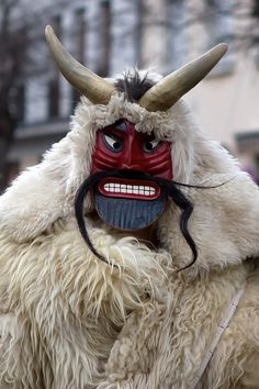 Busó Festivities in Mohács. People traditionally chase the winter away with wooden masks and march. #Hungary