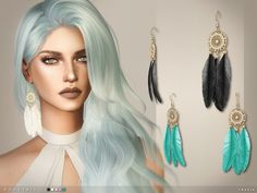 Sims 4 CC's - The Best: Dovetail Earrings by Toksik