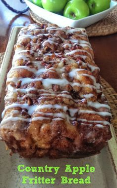 Its apple-picking season! Our newest, most autumnal favorite way to enjoy the fresh-picked fruits? This simple-to-make Apple Fritter Bread! This country apple fritter bread is absolutely the best I have ever had! Bon Dessert, Dessert Bread, Dinner Dessert, Quick Dessert, Dessert Drinks, Köstliche Desserts, Dessert Recipes, Recipes Dinner, Camping Desserts