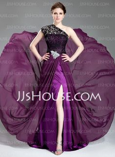 A-Line/Princess One-Shoulder Court Train Chiffon Lace Evening Dresses With Beading (017019739) - JJsHouse