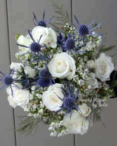 Blue Thistle Bouquet for Inspiration - Wedding Ideas MakeIt Wedding Arrangements, Wedding Centerpieces, Floral Arrangements, Wedding Decorations, Wedding Ideas, Table Decorations, Thistle Bouquet, Blue Bouquet, Thistle Boutonniere