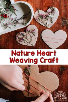 Art therapy activities simple Here is a simple nature heart weaving activity for Valentines Day or Mothers Day. The contrast of the natural cardboard heart with the colorful flowers, makes this the most beautiful gift to hand out this Valentines Day! Valentine Crafts For Kids, Winter Crafts For Kids, Mothers Day Crafts, Art For Kids, Kids Nature Crafts, Montessori, Forest School Activities, Art Therapy Activities, Nature Activities
