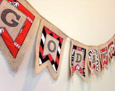 "Georgia Bulldogs ""Go Dawgs"" Burlap and Fabric Banner"