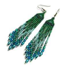 Green and turquoise seed bead earrings with czech by Anabel27shop