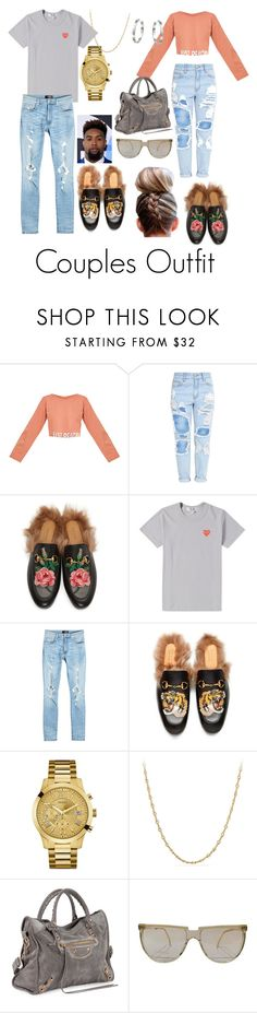 """""""Men & Women - couples Outfit"""" by lucia-grigore ❤ liked on Polyvore featuring Just Peachy, Gucci, Play Comme des Garçons, AMIRI, GUESS, David Yurman, Balenciaga, Versace and Cartier"""