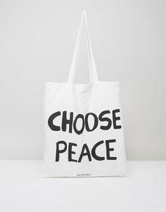 Monki Choose Peace Canvas Tote Bag