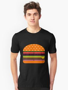 'Junk Food Junkie Hamburger' T-Shirt by dennieb Hamburgers, Junk Food, Tshirt Colors, Onions, Lettuce, Buns, Pickles, Chiffon Tops, Shirt Designs
