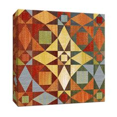 15 in. x 15 in. ''Kaleidoscope Quilt II'' Canvas Wall Art, Multicolored