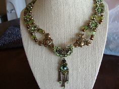 Beautiful Floral Peridot and Copper Dangle Pin Choker - OOAK on Etsy, $75.00