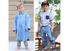 24 Men's button down shirt refashion ideas - Swoodson Says Shirt Refashion, Diy Shirt, Dad To Be Shirts, Boys Shirts, Boys Joggers, Diy Clothes Videos, Refashioning, Sewing Clothes, Diy Fashion