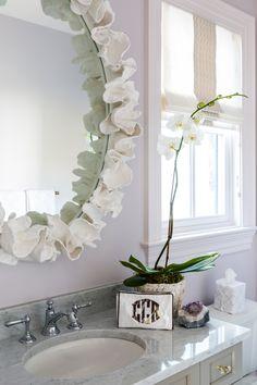 BM Hint of Violet, leaf coral inspired mirror