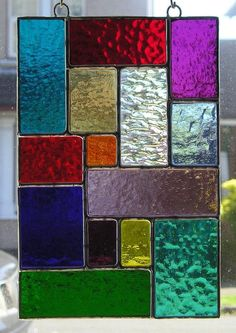 Rainbow Stained Glass Suncatcher Panel Abstract / Geometric Panel, Handmade in England Stained Glass Quilt, Stained Glass Ornaments, Stained Glass Suncatchers, Faux Stained Glass, Stained Glass Designs, Stained Glass Panels, Stained Glass Projects, Stained Glass Patterns, Leaded Glass