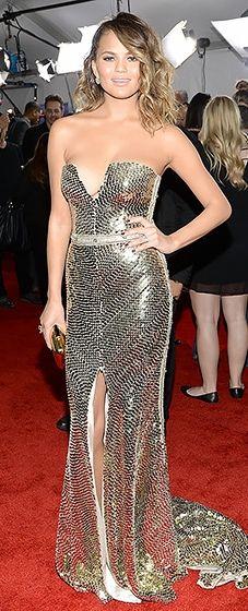 Chrissy Teigen wearing Johanna Johnson @ 2014 Grammy Awards