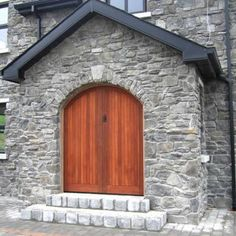 Grand front door in stone cladding example Stone Cladding, Wall Cladding, Eldorado Stone, Stone Cottages, Landscape Architecture, Garage Doors, Design Inspiration, Exterior, Outdoor Decor