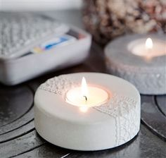 Painted and laced cement candle holders