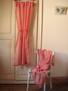 2 Rideaux à carreaux rouges et blancs avec embrases / Voilage vichy rouge / Style campagnard / Cuisine rétro / Années 60 / Vintage France
