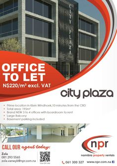 Namibia Property Rentals - CITY PLAZA -  Office TO LET www.npr.com.na
