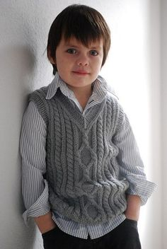 """Knitting Patterns Boy Ravelry: Pembroke Vest pattern by Kirsten Kapur"", ""I'm afraid the Petite Purls website has shut down and t Baby Boy Knitting Patterns, Knitting For Kids, Baby Patterns, Knitting Designs, Knitting Projects, Matching Sweaters, Baby Sweaters, Crochet Baby, Knit Crochet"