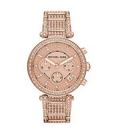 Michael Kors Ladies Parker Rose Gold and Crystal Watch   Dillards.com