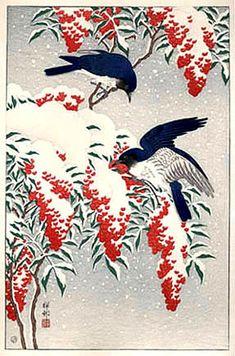 Ohara Koson (Japanese, 1877-1945).  Nanten Bush and Fly Catchers in Snow. 1929.