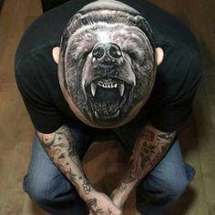 bear tattoo on head - 70 Amazing Tattoo Designs Cat Portrait Tattoos, Bear Tattoos, Animal Tattoos, Body Art Tattoos, Sleeve Tattoos, Amazing 3d Tattoos, Badass Tattoos, Tattoos For Guys, Warrior Tattoos