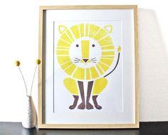 Lion Screenprint Large Art Print Poster by sassandperil on Etsy, $28.00