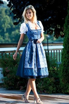 Dirndl Daniel on - Clothes - Mode Drindl Dress, German Costume, Blue Dresses, Girls Dresses, Beer Girl, Blue Party Dress, Party Dresses Online, German Fashion, German Girls