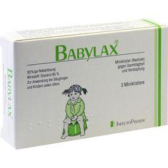 BABYLAX Mini-Klistier gegen Verstopfung:   Packungsinhalt: 3 St Klistiere PZN: 00098878 Hersteller: INFECTOPHARM Arzn.u.Consilium GmbH…
