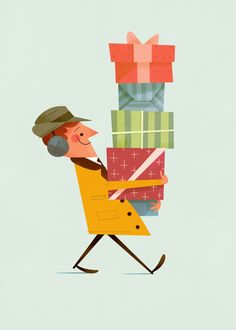 'All Done' for Viva La Card, Andrew Kolb - christmas gifts illustration - cadeaux de noel