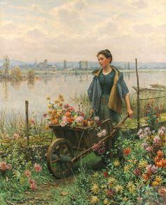 Daniel Ridgway Knight (né le 15 mars 1839 à Philadelphie, Pennsylvanie - mort le 9 mars 1924 à Paris) était un peintre américain. En 1861,Knight vit à Paris pour étudier la peinture et rentre à l'École des beaux-arts, avec Cabanel , Charles Gleyre et Jean-L-E Meissonier. En 1863, il repart aux États-Unis. En 1872, il revient vivre en France, dans sa maison et son atelier de Poissy. Il rencontre Renoir, Sisley.